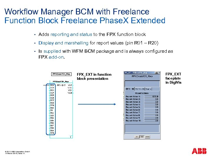 Workflow Manager BCM with Freelance Function Block Freelance Phase. X Extended § Adds reporting