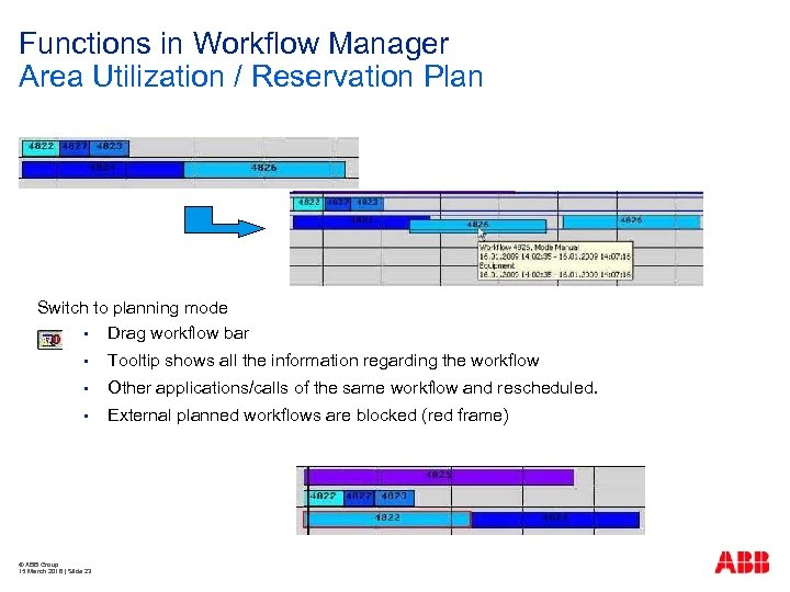 Functions in Workflow Manager Area Utilization / Reservation Plan Switch to planning mode §