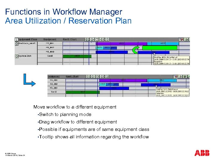 Functions in Workflow Manager Area Utilization / Reservation Plan Move workflow to a different