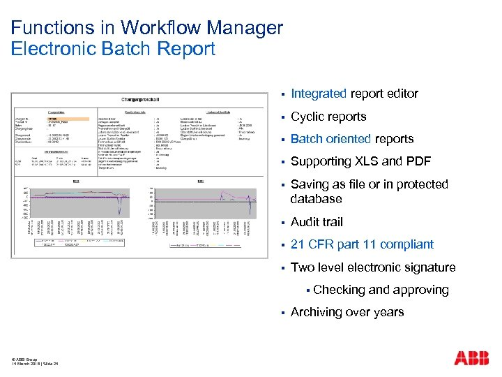Functions in Workflow Manager Electronic Batch Report § Integrated report editor § Cyclic reports