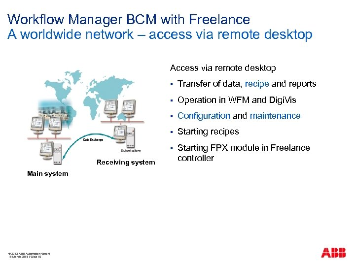 Workflow Manager BCM with Freelance A worldwide network – access via remote desktop Access