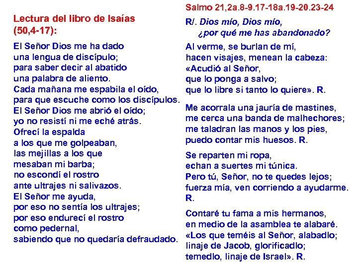 Salmo 21, 2 a. 8 -9. 17 -18 a. 19 -20. 23 -24 Lectura