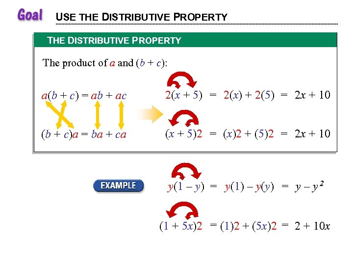 USE THE DISTRIBUTIVE PROPERTY The product of a and (b + c): a(b +