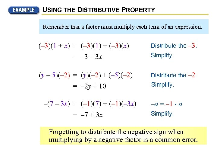 USING THE DISTRIBUTIVE PROPERTY Remember that a factor must multiply each term of an