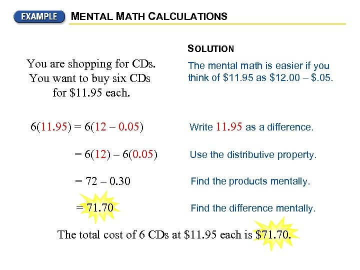 MENTAL MATH CALCULATIONS SOLUTION You are shopping for CDs. You want to buy six