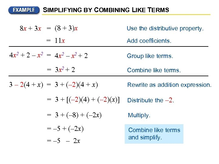 SIMPLIFYING BY COMBINING LIKE TERMS 8 x + 3 x = (8 + 3)x