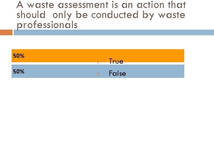 A waste assessment is an action that should only be conducted by waste professionals