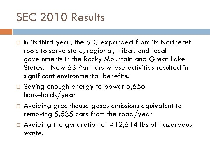 SEC 2010 Results In its third year, the SEC expanded from its Northeast roots