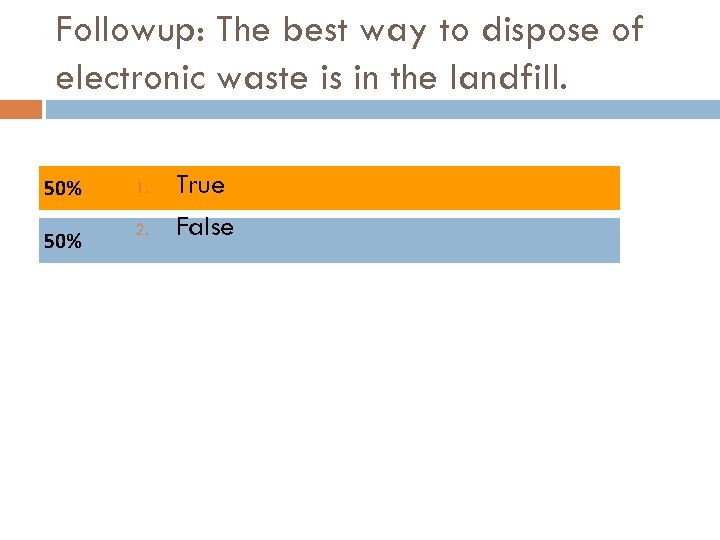 Followup: The best way to dispose of electronic waste is in the landfill. 1.