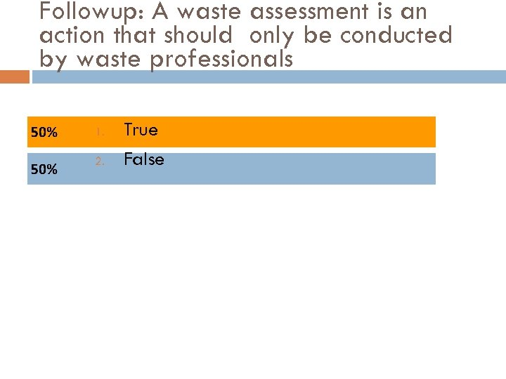 Followup: A waste assessment is an action that should only be conducted by waste