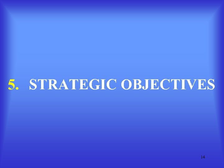 5. STRATEGIC OBJECTIVES 14