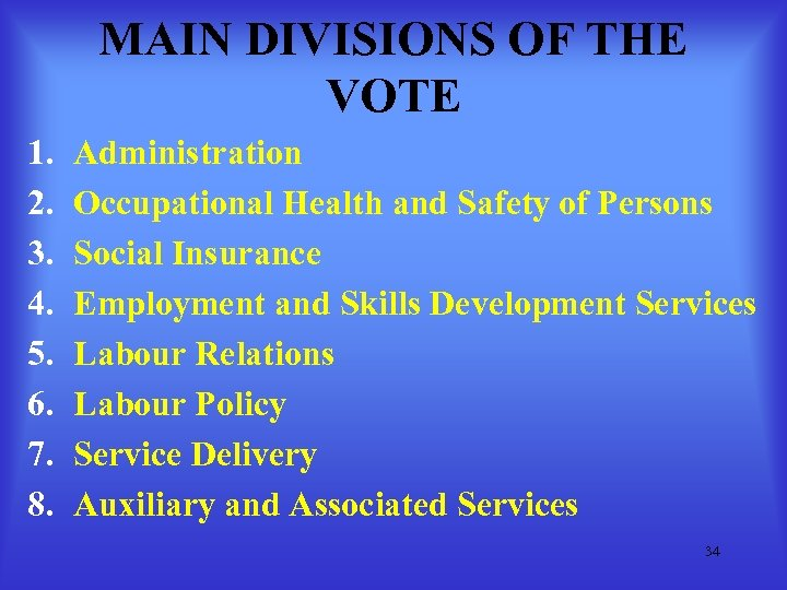 MAIN DIVISIONS OF THE VOTE 1. 2. 3. 4. 5. 6. 7. 8. Administration