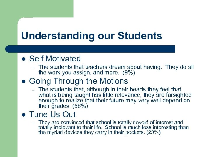 Understanding our Students l Self Motivated – l Going Through the Motions – l