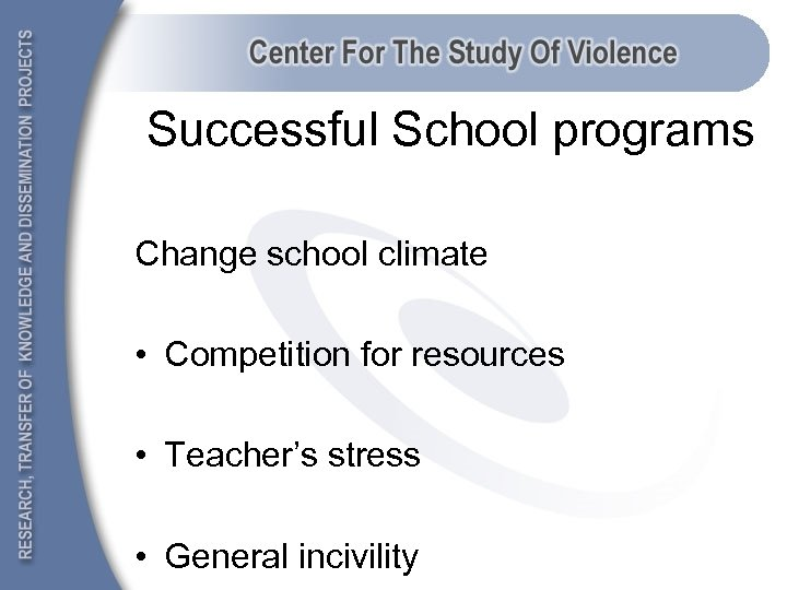 Successful School programs Change school climate • Competition for resources • Teacher's stress •