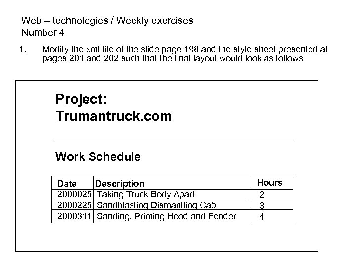 Web – technologies / Weekly exercises Number 4 1. Modify the xml file of