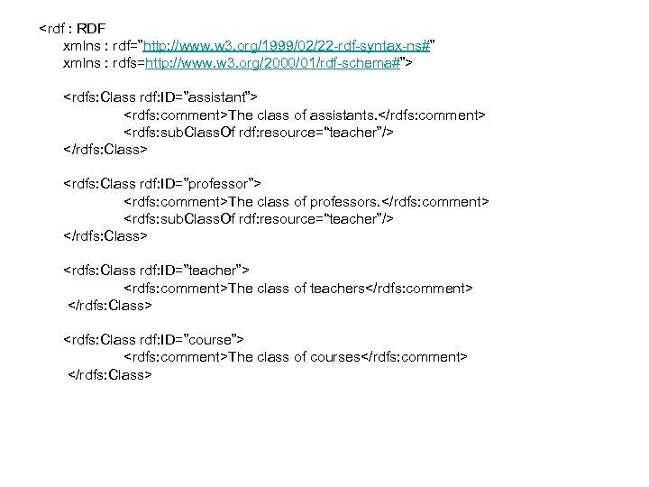 """<rdf : RDF xmlns : rdf=""""http: //www. w 3. org/1999/02/22 -rdf-syntax-ns#"""" xmlns : rdfs=http:"""