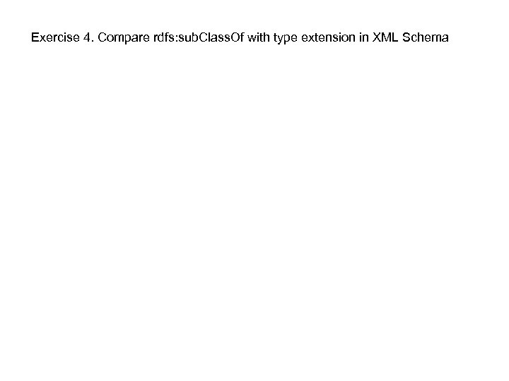 Exercise 4. Compare rdfs: sub. Class. Of with type extension in XML Schema