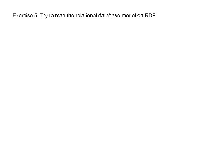 Exercise 5. Try to map the relational database model on RDF.