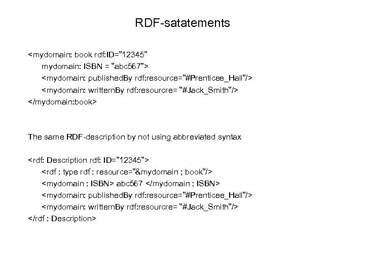 "RDF-satatements <mydomain: book rdf: ID="" 12345"" mydomain: ISBN = ""abc 567""> <mydomain: published. By"