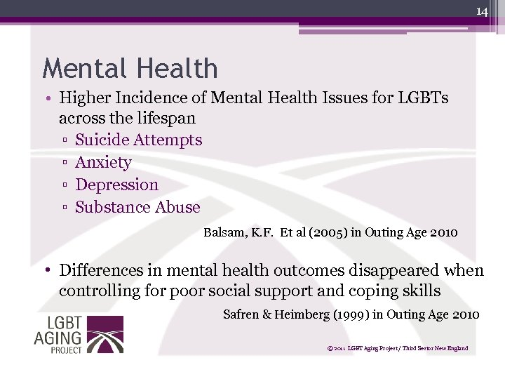 14 Mental Health • Higher Incidence of Mental Health Issues for LGBTs across the