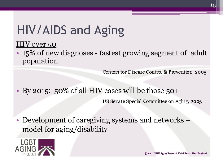 15 HIV/AIDS and Aging HIV over 50 • 15% of new diagnoses - fastest