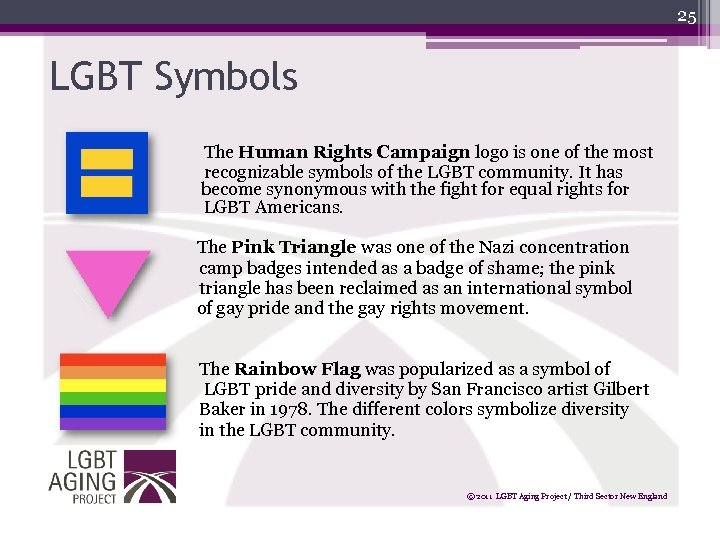 25 LGBT Symbols The Human Rights Campaign logo is one of the most recognizable