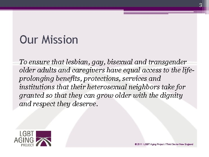 3 Our Mission To ensure that lesbian, gay, bisexual and transgender older adults and