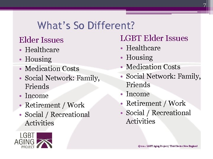 7 What's So Different? Elder Issues • • Healthcare Housing Medication Costs Social Network: