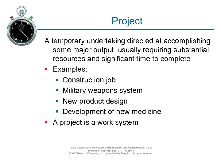 Project A temporary undertaking directed at accomplishing some major output, usually requiring substantial resources
