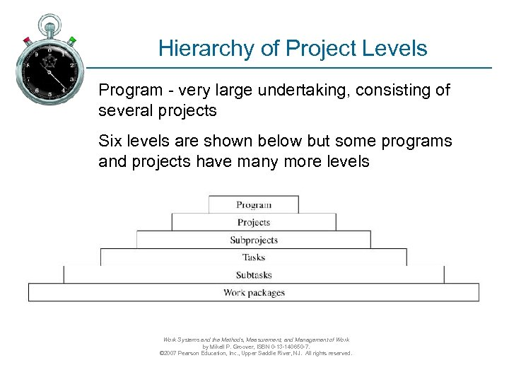 Hierarchy of Project Levels Program - very large undertaking, consisting of several projects Six