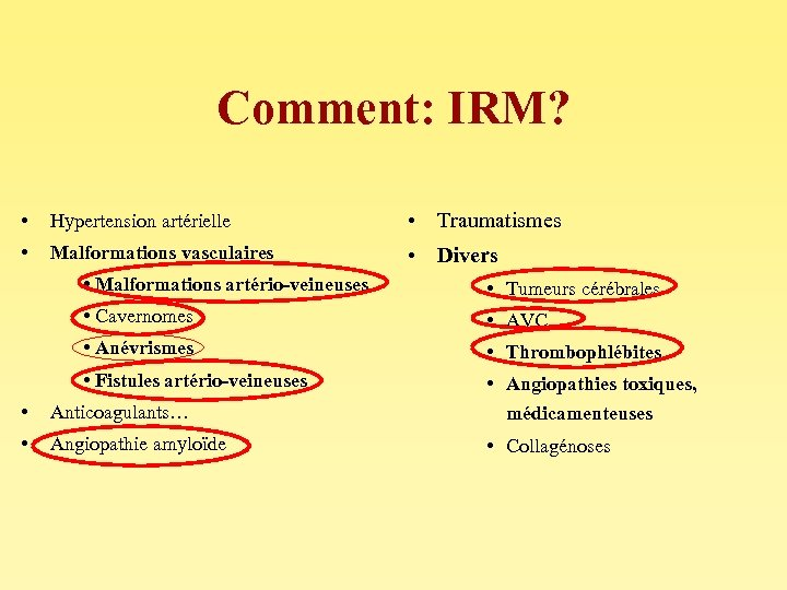 Comment: IRM? • Hypertension artérielle • Traumatismes • Malformations vasculaires • Divers • Malformations