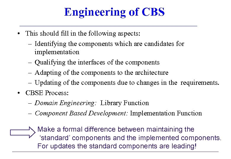 Engineering of CBS • This should fill in the following aspects: – Identifying the