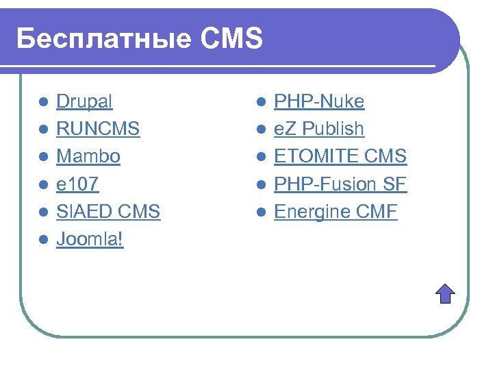 Бесплатные CMS l l l Drupal RUNCMS Mambo e 107 Sl. AED CMS Joomla!
