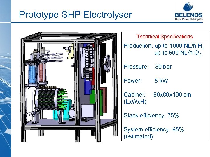 Prototype SHP Electrolyser Technical Specifications Production: up to 1000 NL/h H 2 up to