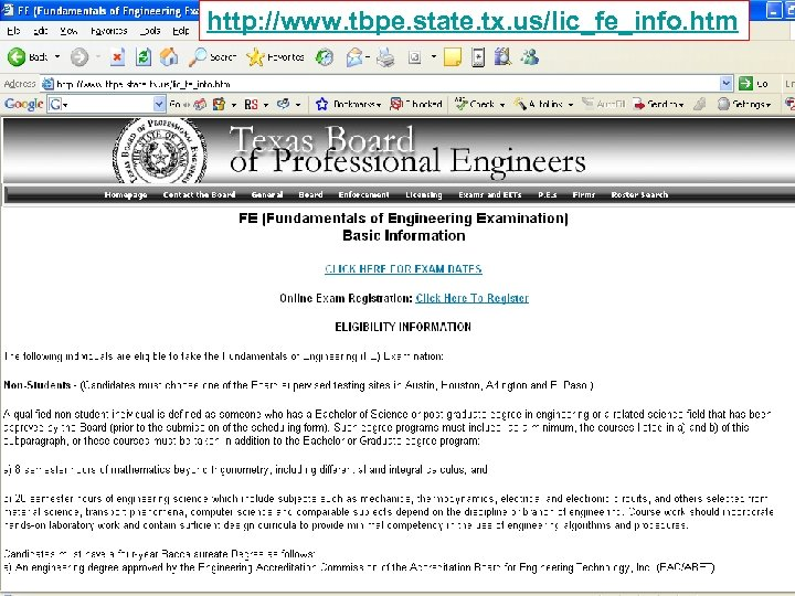 http: //www. tbpe. state. tx. us/lic_fe_info. htm