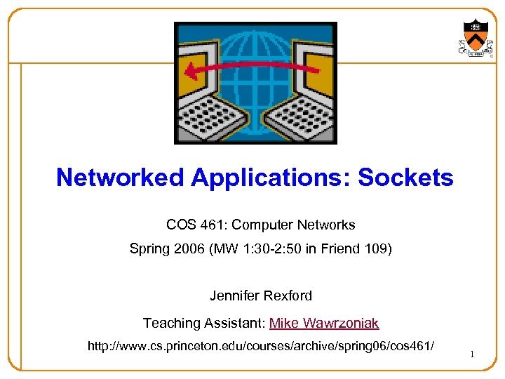 Networked Applications: Sockets COS 461: Computer Networks Spring 2006 (MW 1: 30 -2: 50