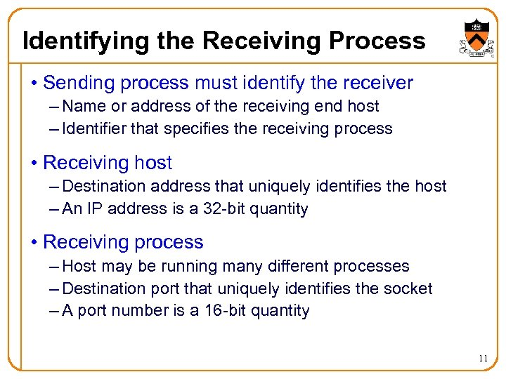 Identifying the Receiving Process • Sending process must identify the receiver – Name or