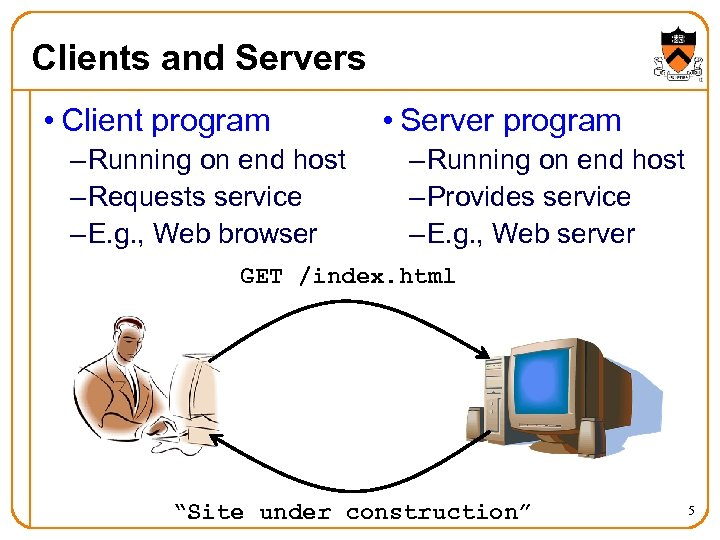 Clients and Servers • Client program – Running on end host – Requests service