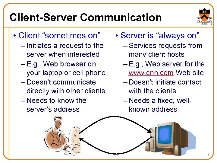 """Client-Server Communication • Client """"sometimes on"""" – Initiates a request to the server when"""