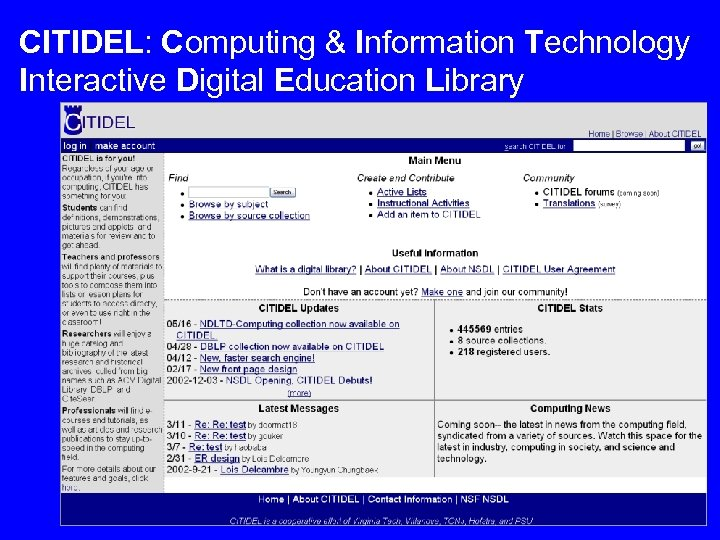 CITIDEL: Computing & Information Technology Interactive Digital Education Library