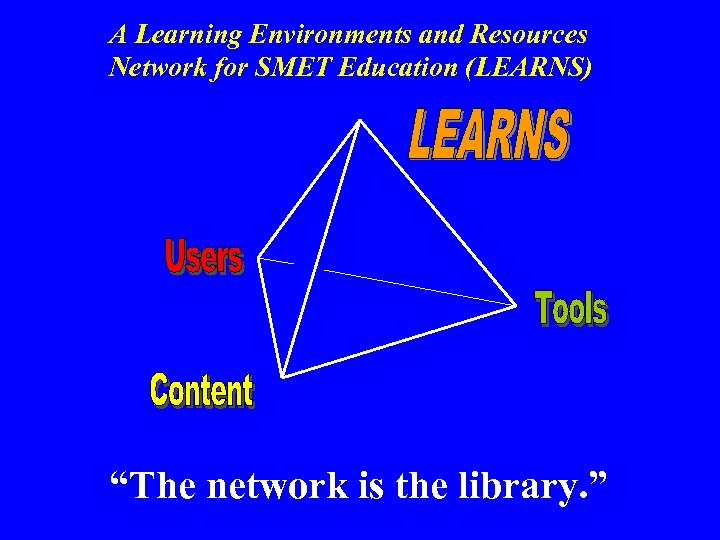 "A Learning Environments and Resources Network for SMET Education (LEARNS) ""The network is the"