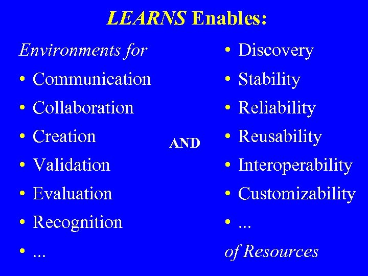 LEARNS Enables: Environments for • Discovery • Communication • Stability • Collaboration • Reliability