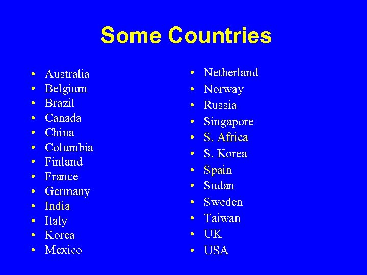 Some Countries • • • • Australia Belgium Brazil Canada China Columbia Finland France