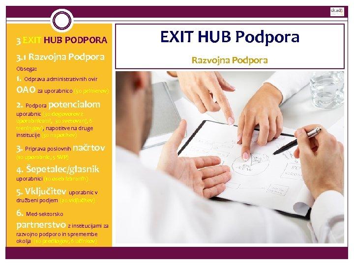 3 EXIT HUB PODPORA EXIT HUB Podpora 3. 1 Razvojna Podpora Obsega: 1. Odprava
