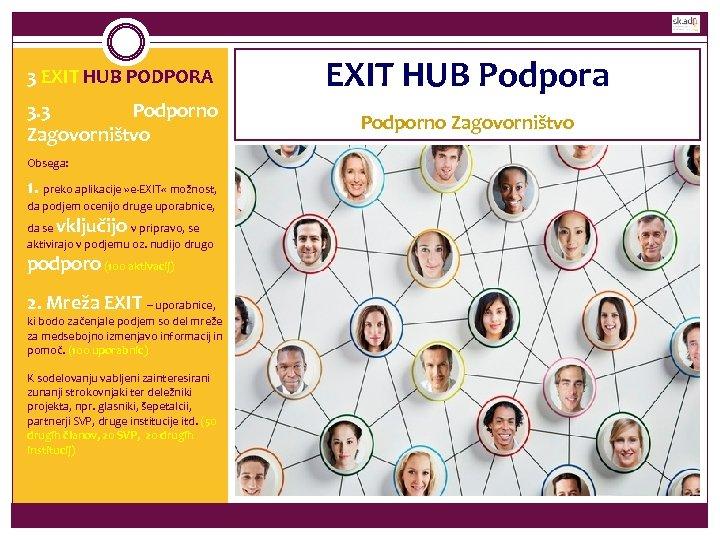 3 EXIT HUB PODPORA EXIT HUB Podpora 3. 3 Podporno Zagovorništvo Obsega: 1. preko