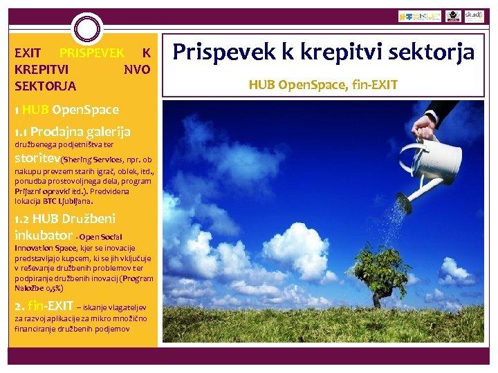 EXIT PRISPEVEK K KREPITVI NVO SEKTORJA 1 HUB Open. Space 1. 1 Prodajna galerija