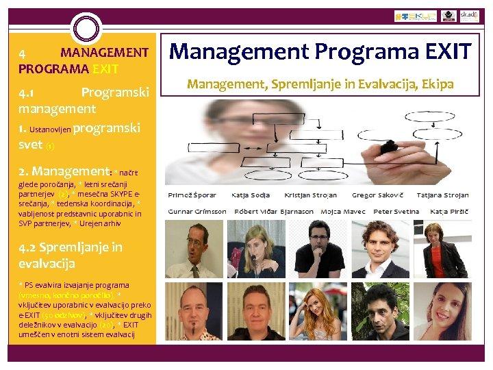 4 MANAGEMENT PROGRAMA EXIT 4. 1 Programski management 1. Ustanovljen programski svet (1) 2.
