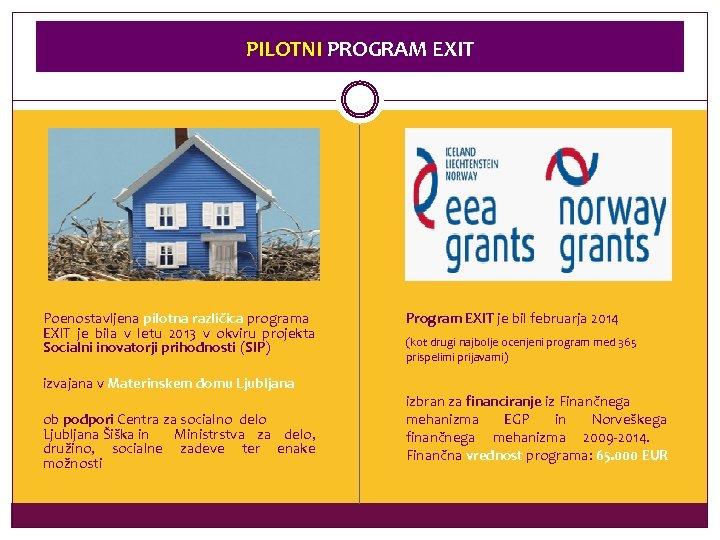 PILOTNI PROGRAM EXIT Poenostavljena pilotna različica programa EXIT je bila v letu 2013 v