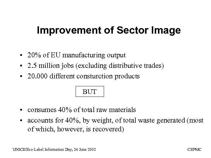 Improvement of Sector Image • 20% of EU manufacturing output • 2. 5 million