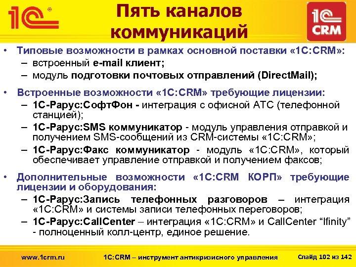 Пять каналов коммуникаций • Типовые возможности в рамках основной поставки « 1 С: CRM»